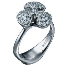 Кольцо из белого золота 750 пробы с бриллиантами коллекция Free forms