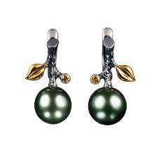 Серьги с черным жемчугом и бриллиантами, коллекция Eden