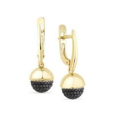 Серьги из лимонного золота с черными бриллиантами