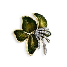 Золотая брошь с бриллиантами и эмалью