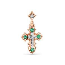 Золотой крест с бриллиантом и изумрудами