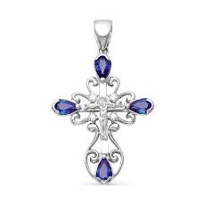 Крест из белого золота с бриллиантами и сапфирами