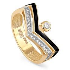 Кольцо из лимонного золота с эмалью и бриллиантами