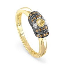 Золотое кольцо с коньячными бриллиантами