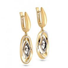 Золотые серьги из лимонного золота с бриллиантами
