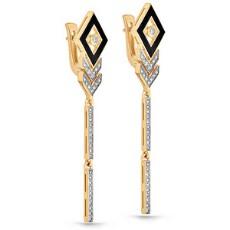Золотые серьги из лимонного золота с бриллиантами и эмалью