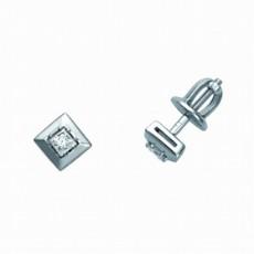 Пусеты из белого золота 585 пробы, украшенные бриллиантами