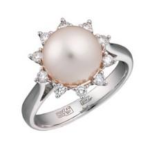 Кольцо из белого золота 585 пробы, украшенное бриллиантами и культивированным морским жемчугом
