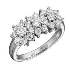 Кольцо из белого золота 750 пробы, украшенное бриллиантами
