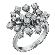 Золотое кольцо из белого золота 750 пробы с бриллиантами