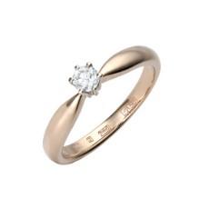 Кольцо из красного золота 585 пробы, украшенное бриллиантом