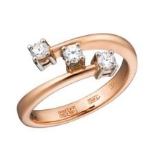 Кольцо из золота 585 пробы, украшенное бриллиантами