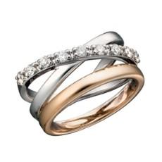 Кольцо из желтого золота 585 пробы, украшенное бриллиантами