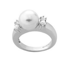 Кольцо Majorica из серебра 925 пробы с жемчугом и цирконием