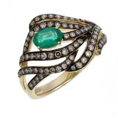 Кольцо из желтого золота с фантазийными бриллиантами и изумрудом