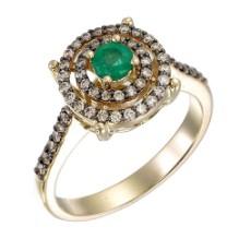 Кольцо из лимонного золота 585 пробы с изумрудом и фантазийными бриллиантами