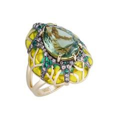 """Золотое кольцо """"Солнечная акварель"""" с празиолитом, бриллиантами, сапфирами и эмалью"""