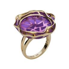 """Золотое кольцо """"Волнение"""" с аметистом и эмалью"""