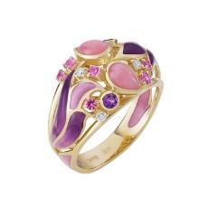 Золотое кольцо Libelle с аметистами, опалами, эмалью и сапфирами