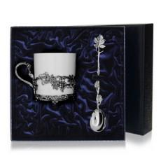 Набор серебряная кофейная чашка Виноград
