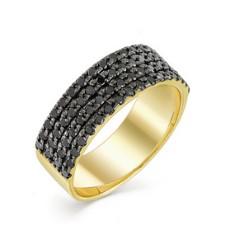 Кольцо из лимонного золота с черными бриллиантами