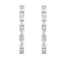 Серьги-конго из белого золота с бриллиантами