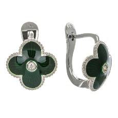 Серьги с бриллиантами и зеленой эмалью