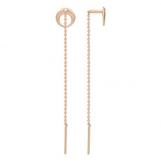 Золотые серьги-продевки с фианитами