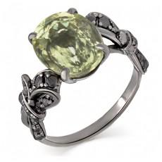 Золотое родированное кольцо с бриллиантами и кунцитом