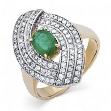 Кольцо из лимонного золота с бриллиантами и изумрудом