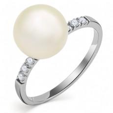 Кольцо из белого золота с бриллиантами и жемчугом