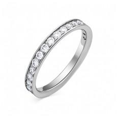 Обручальное кольцо из белого золота с 19 бриллиантами