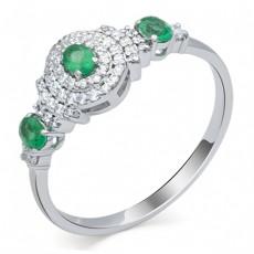 Кольцо из белого золота с изумрудами и бриллиантами