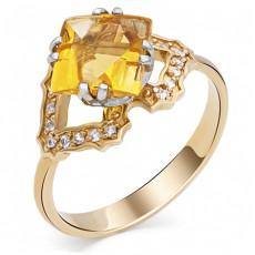 Кольцо из лимонного золота с цитрином и сапфирами