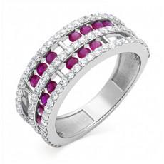 Кольцо из белого золота с рубинами и бриллиантами