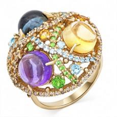 Кольцо из лимонного золота с топазами, тсаворитами, бриллиантами