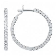Серьги-кольца из белого золота с бриллиантами