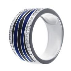 Кольцо с эмалью и цирконием