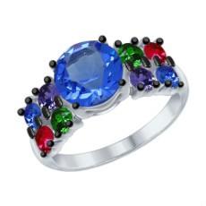 Кольцо из серебра с зелеными, розовыми, синими и сиреневыми кристаллами Swarovski