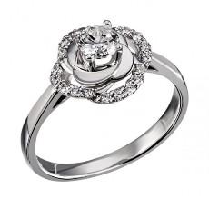 Ажурное кольцо «Роза» с фианитами