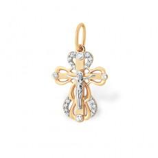 Крест из золота 585 пробы с фианитом