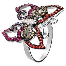 Кольцо Бабочка из серебра с фианитами