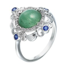Кольцо из серебра с агатами и фианитами