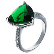 Кольцо из серебра с фианитами и ювелирным стеклом