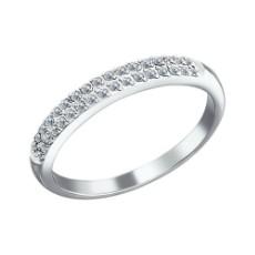 Кольцо из белого золота c двумя дорожками бриллиантов