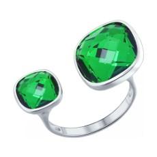 Кольцо из серебра с зелёными кристаллами Swarovski