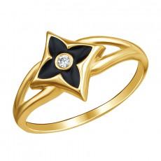 Золотое кольцо с эмалью и фианитом