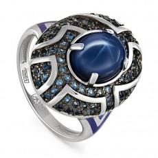 Золотое кольцо с сапфиром, топазами и эмалью