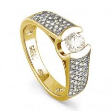 Кольцо из лимонного золота с бриллиантами
