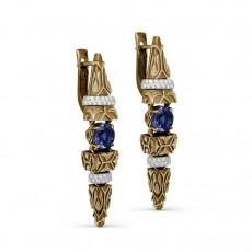 Золотые серьги с бриллиантами и кианитами